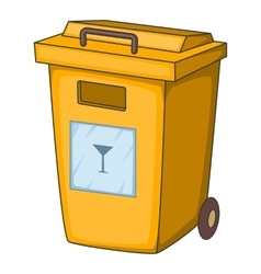 Yellow bin garbage container icon cartoon style vector