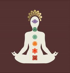 yoga lotus pose concept with chakra icons vector image