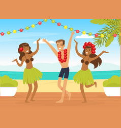 young man and two girls hula dancers dancing on vector image