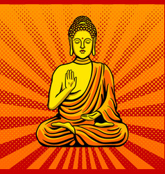 buddha statue monument pop art style vector image vector image