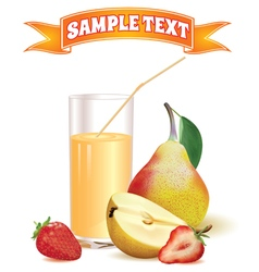 glass with juice pear and strawberry vector image
