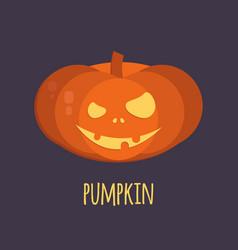 Orange halloween pumpkin smiling vector
