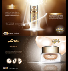 digital golden glass bottle spray essence vector image