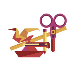 Equipment for origami handicrafts creation as vector