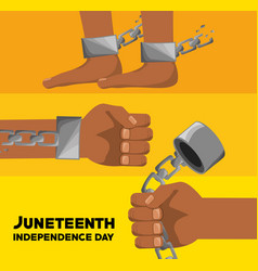 Hands and feet with chain to celebrate juneteenth vector