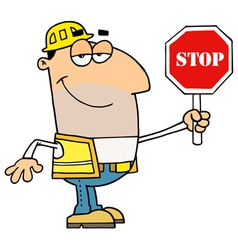 Male Traffic Director Holding A Stop Sign vector image