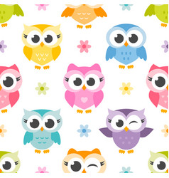 pattern with cute colorful owls and flowers vector image vector image