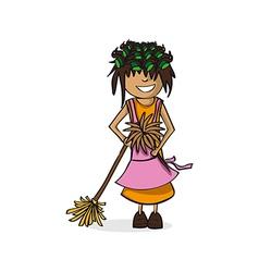 Profession housewife woman cartoon figure vector image vector image