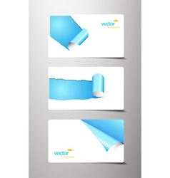 set of gift cards with rolled corners vector image vector image
