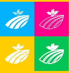 wheat field sign four styles of icon on four vector image