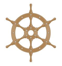 wooden ship wheel vector image