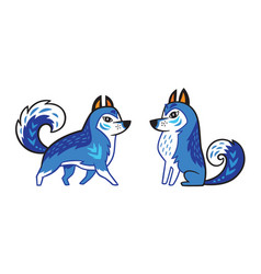 blue siberian husky dog vector image