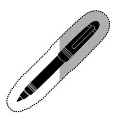 dark contour metal ballpen icon vector image