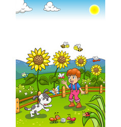 little gardener boy with sunflower and his dog vector image vector image