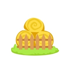 Pile of stacked hay rolls cartoon farm related vector
