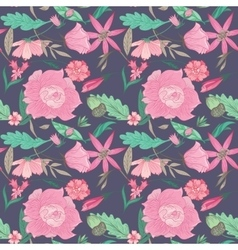 Summer Floral Pattern on Indigo Background vector image vector image