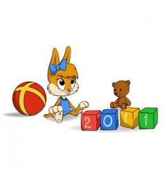 cute bunny cub with bricks vector image vector image