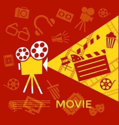 digital red yellow cinema vector image vector image