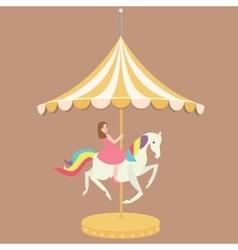woman girl riding horse carousel cartoon flat vector image vector image