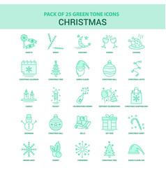 25 green christmas icon set vector