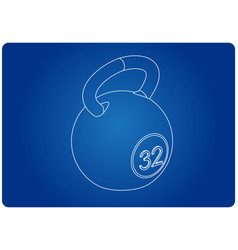 3d model of weight on a blue vector image