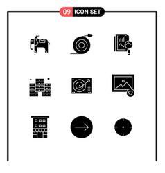9 universal solid glyph signs symbols record vector