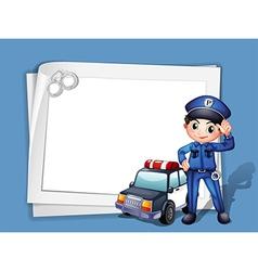 A policeman beside a police car vector