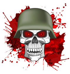 Abstract image of a human skull in an army helmet vector