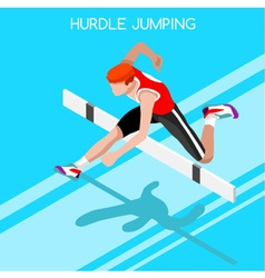 Athletics Hurdle Jump 2016 Summer Games 3D vector
