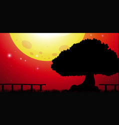Background scene with big tree and red sky vector