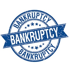Bankruptcy grunge retro blue isolated ribbon stamp vector