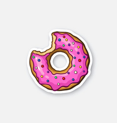 Bitten donut with pink glaze colored powder vector