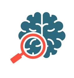 Brain with magnifying glass colored icon organ vector