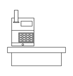 Cash desk in supermarket icon outline style vector