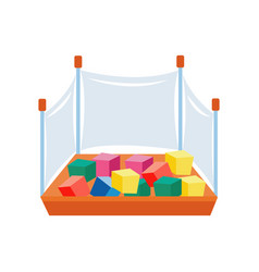 Children play zone playpen with cubes flat cartoon vector