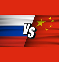 china vs russia flags flat tariff trade war vector image