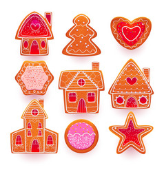 christmas gingerbread cookies with sugar icing vector image