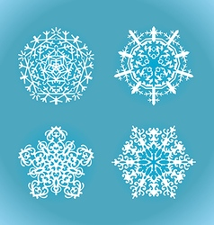 collection white snowflake on a blue background vector image