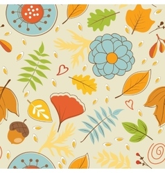 Colorful autumn pattern with leaves and flowers vector image