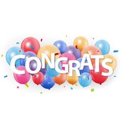Congratulations with balloon and confetti vector