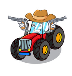 Cowboy tractor character cartoon style vector