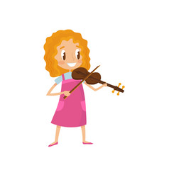 Cute girl playing violin talented little musician vector