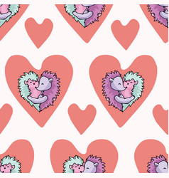 Cute hedgehog hug hearts seamless repeat vector
