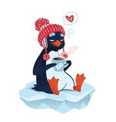 Cute penguin with cup of coffee vector image vector image