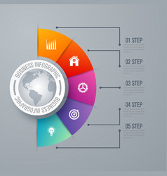 Design infographic template 5 steps vector