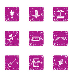 Distraction icons set grunge style vector