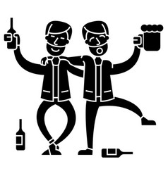Drunk people two men drinking icon vector