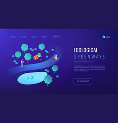Ecological greenway isometric 3d landing page vector