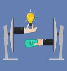 Exchange lightbulb idea and money online vector image