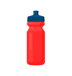 Fitness bottle red container with black cover vector